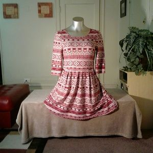 Speechless Burgundy White Designed Midi Dress